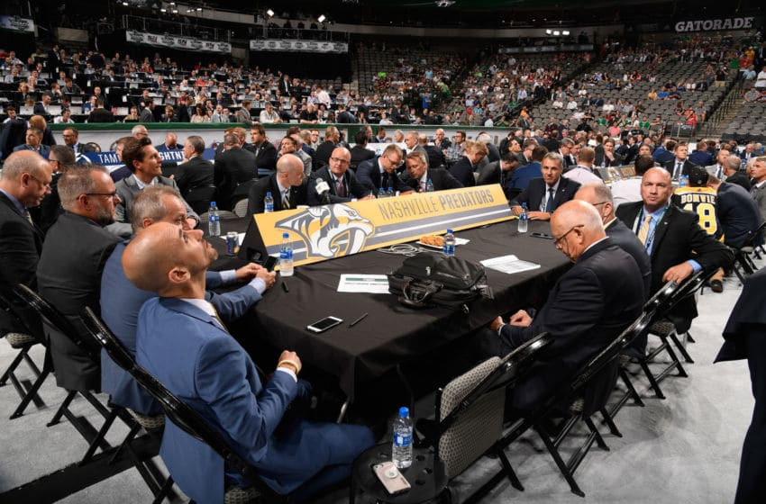 DALLAS, TX - JUNE 22: A general view of the Nashville Predators draft table is seen during the first round of the 2018 NHL Draft at American Airlines Center on June 22, 2018 in Dallas, Texas. (Photo by Brian Babineau/NHLI via Getty Images)