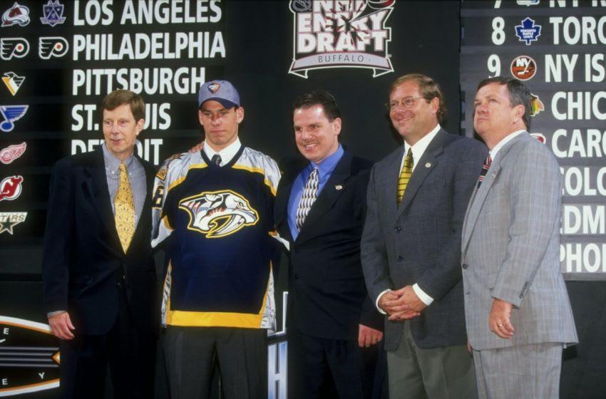 27 Jun 1998: First round pick David Legwand of the Nashville Predators poses during the 1998 NHL Entry Draft at the Marine Midland Arena in Buffalo, New York. Mandatory Credit: Rick Stewart /Allsport