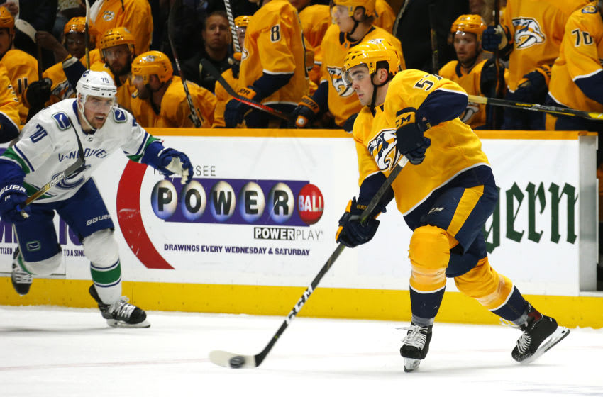 Dante Fabbro #57 of the Nashville Predators (Photo by Frederick Breedon/Getty Images)