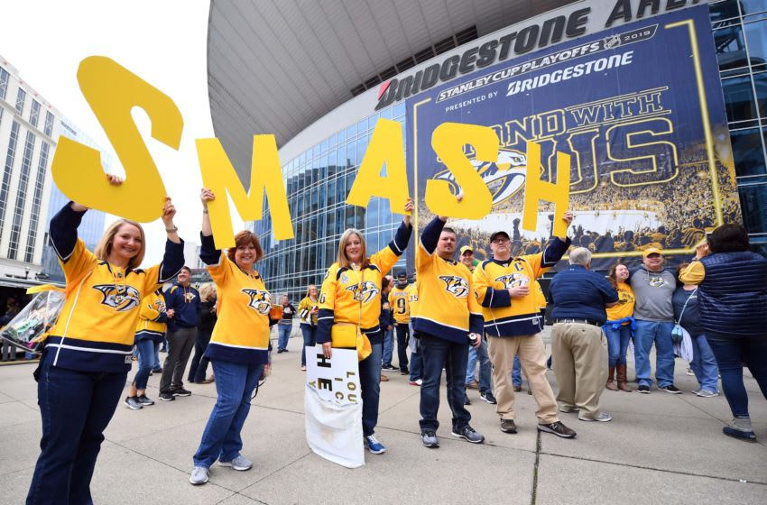 General view as fans hold signs outside Bridgestone Arena before the Nashville Predators game against the Dallas Stars in game two of the first round of the 2019 Stanley Cup Playoffs at Bridgestone Arena. Mandatory Credit: Christopher Hanewinckel-USA TODAY Sports