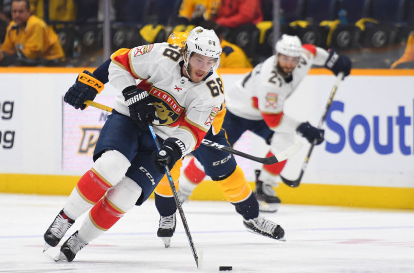 Florida Panthers center Mike Hoffman (68) skates with the puck during the second period against the Nashville Predators Mandatory Credit: Christopher Hanewinckel-USA TODAY Sports