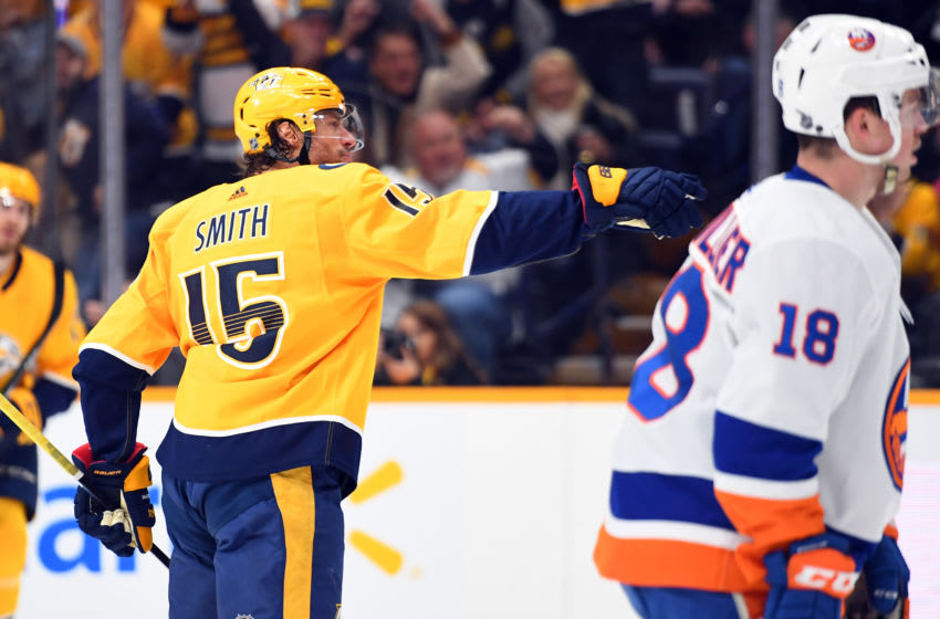 Nashville Predators right wing Craig Smith (15) celebrates after scoring his second goal of the first period against the New York Islanders at Bridgestone Arena. Mandatory Credit: Christopher Hanewinckel-USA TODAY Sports