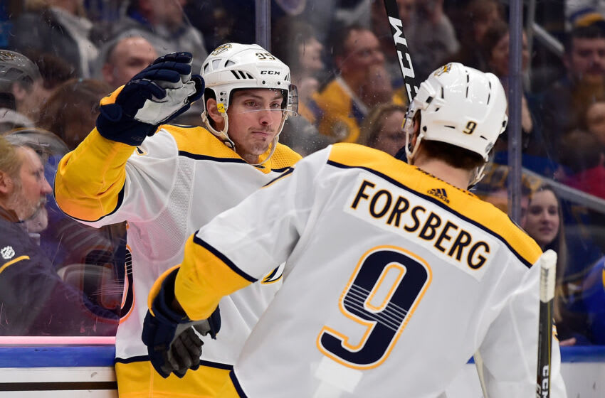 Nashville Predators center Matt Duchene (95) is congratulated by left wing Filip Forsberg (9) after scoring during the first period against the St. Louis Blues at Enterprise Center. Mandatory Credit: Jeff Curry-USA TODAY Sports