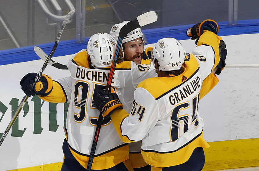 Aug 7, 2020; Edmonton, Alberta, CAN; The Nashville Predators celebrate a third period goal by forward Filip Forsberg (9) who scored with less then a minute to play to tie the game with Arizona Coyotes during the Western Conference qualifications at Rogers Place. Mandatory Credit: Perry Nelson-USA TODAY Sports