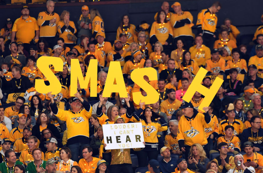 Apr 13, 2019; Nashville, TN, USA; Nashville Predators fans hold signs during the first period against the Dallas Stars in game two of the first round of the 2019 Stanley Cup Playoffs at Bridgestone Arena. Mandatory Credit: Christopher Hanewinckel-USA TODAY Sports