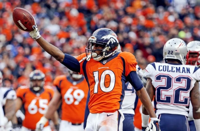 Jan 24, 2016; Denver, CO, USA; Denver Broncos wide receiver Emmanuel Sanders (10) reacts during the game against the New England Patriots in the AFC Championship football game at Sports Authority Field at Mile High. Mandatory Credit: Kevin Jairaj-USA TODAY Sports