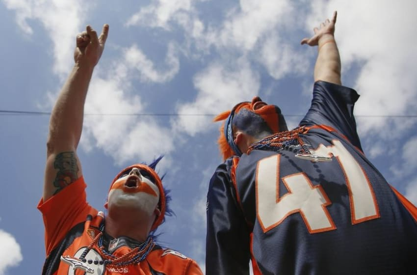 Dec 4, 2016; Jacksonville, FL, USA; Denver fans cheer during the second half of an NFL football game against the Jacksonville Jaguars at EverBank Field. The Broncos won 20-10. Mandatory Credit: Reinhold Matay-USA TODAY Sports