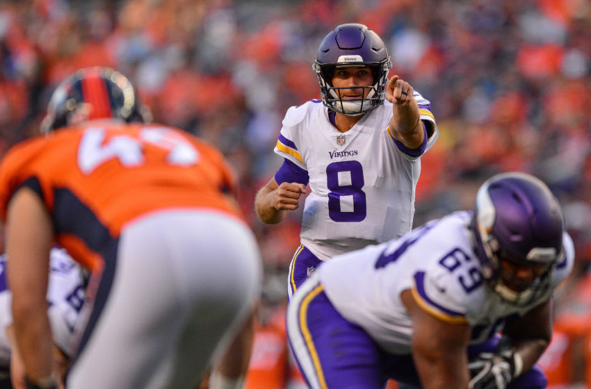 DENVER, CO - AUGUST 11: Quarterback Kirk Cousins #8 of the Minnesota Vikings runs the offense in the first quarter of a game against the Denver Broncos during an NFL preseason game at Broncos Stadium at Mile High on August 11, 2018 in Denver, Colorado. (Photo by Dustin Bradford/Getty Images)