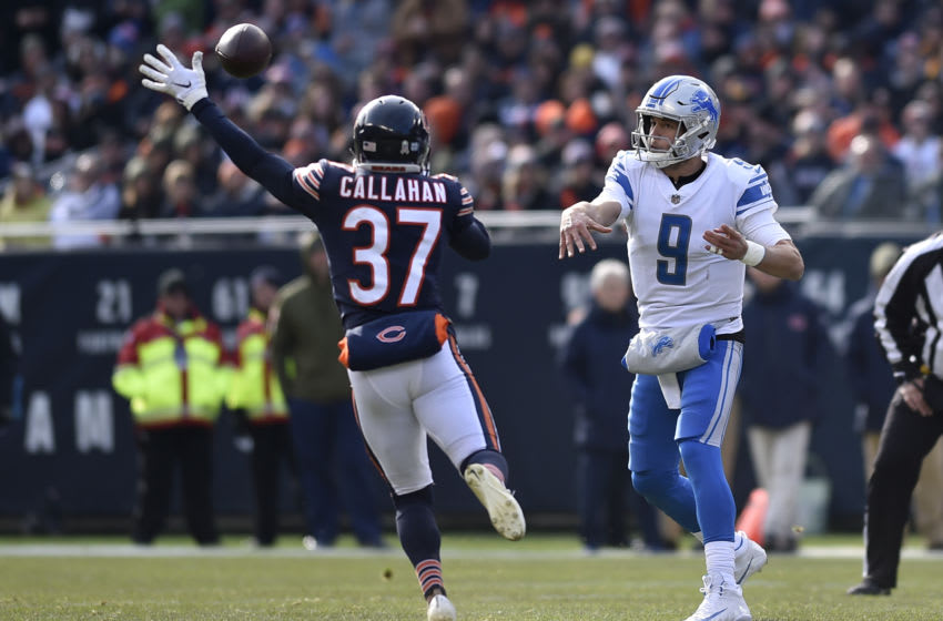 CHICAGO, IL - NOVEMBER 11: Bryce Callahan #37 of the Chicago Bears attempts to block the pass from quarterback Matthew Stafford #9 of the Detroit Lions in the first quarter at Soldier Field on November 11, 2018 in Chicago, Illinois. (Photo by Quinn Harris/Getty Images)