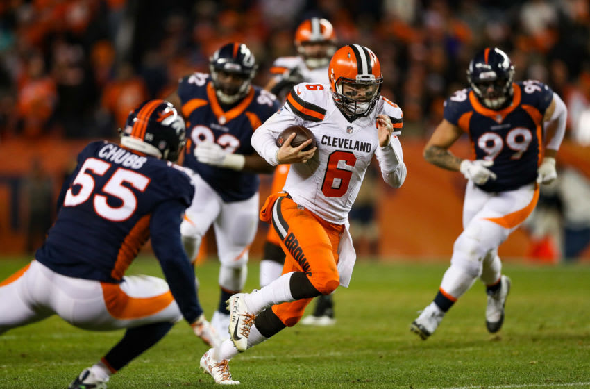 DENVER, CO - DECEMBER 15: Quarterback Baker Mayfield #6 of the Cleveland Browns scrambles against the Denver Broncos in the third quarter of a game at Broncos Stadium at Mile High on December 15, 2018 in Denver, Colorado. (Photo by Matthew Stockman/Getty Images)