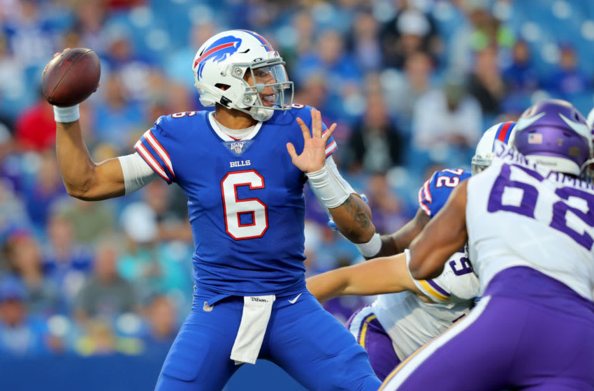 ORCHARD PARK, NY - AUGUST 29: Tyree Jackson #6 of the Buffalo Bills looks to throw a pass during the first half of a preseason game against the Minnesota Vikings at New Era Field on August 29, 2019 in Orchard Park, New York. (Photo by Timothy T Ludwig/Getty Images)