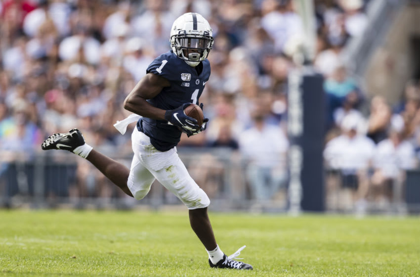 STATE COLLEGE, PA - AUGUST 31: KJ Hamler #1 of the Penn State Nittany Lions carries the ball against the Idaho Vandals during the first half at Beaver Stadium on August 31, 2019 in State College, Pennsylvania. (Photo by Scott Taetsch/Getty Images)