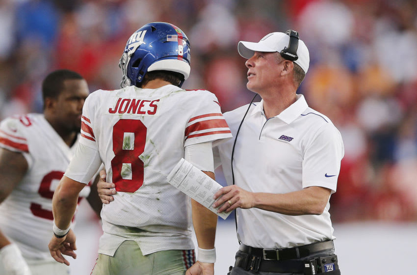 TAMPA, FLORIDA - SEPTEMBER 22: Daniel Jones #8 of the New York Giants celebrates with head coach Pat Shurmur after a touchdown against the Tampa Bay Buccaneers during the fourth quarter at Raymond James Stadium on September 22, 2019 in Tampa, Florida. (Photo by Michael Reaves/Getty Images)