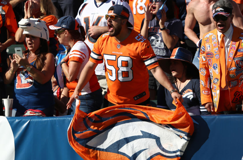 CARSON, CALIFORNIA - OCTOBER 06: A Denver Bronco fan screams during the second half of a game against the Los Angeles Chargers at Dignity Health Sports Park on October 06, 2019 in Carson, California. (Photo by Sean M. Haffey/Getty Images)