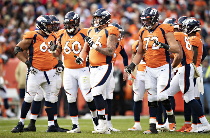 DENVER, CO - NOVEMBER 3: Offensive line of the Denver Broncos breaks the huddle during a game against the Cleveland Browns at Broncos Stadium at Mile High on November 3, 2019 in Denver, Colorado. The Broncos defeated the Browns 24-19. (Photo by Wesley Hitt/Getty Images)