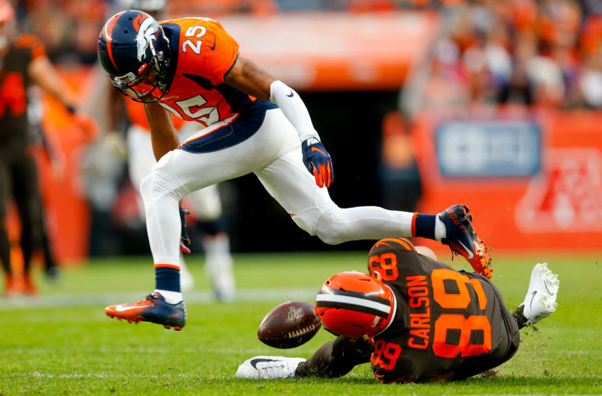 DENVER, CO - NOVEMBER 3: Cornerback Chris Harris Jr. #25 of the Denver Broncos breaks up a pass intended for tight end Stephen Carlson #89 of the Cleveland Browns during the third quarter at Empower Field at Mile High on November 3, 2019 in Denver, Colorado. The Broncos defeated the Browns 24-19. (Photo by Justin Edmonds/Getty Images)