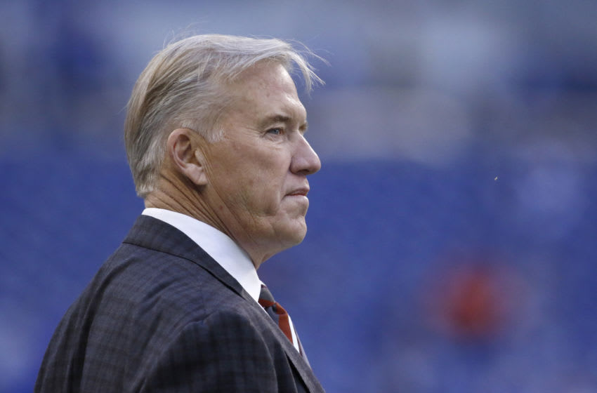 INDIANAPOLIS, INDIANA - OCTOBER 27: John Elway general manager of the Denver Broncos on the sidelines before the game against the Indianapolis Colts at Lucas Oil Stadium on October 27, 2019 in Indianapolis, Indiana. (Photo by Justin Casterline/Getty Images)
