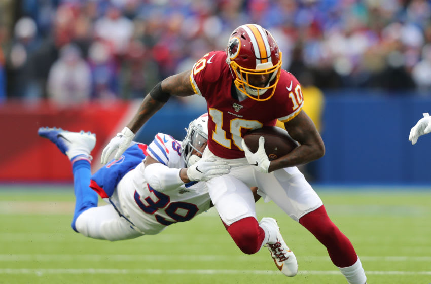 ORCHARD PARK, NY - NOVEMBER 03: Levi Wallace #39 of the Buffalo Bills dives to try and tackle Paul Richardson #10 of the Washington Redskins as he runs the ball during a game at New Era Field on November 3, 2019 in Orchard Park, New York. Buffalo beats Washington 24 to 9. (Photo by Timothy T Ludwig/Getty Images)