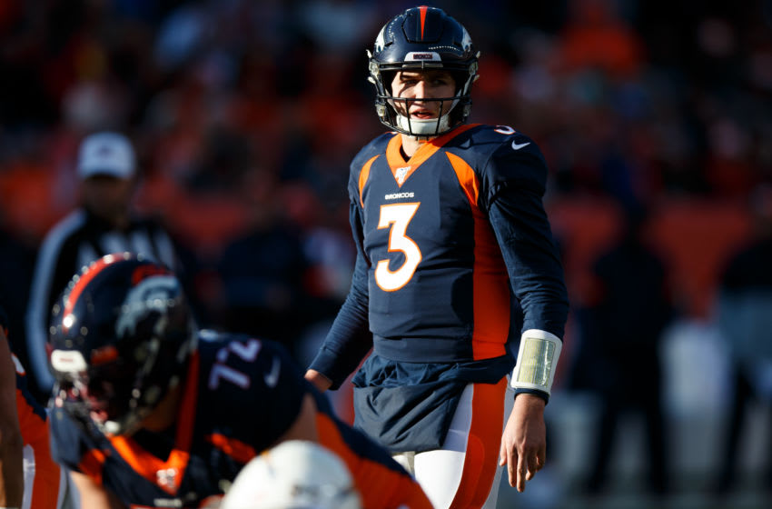 DENVER, CO - DECEMBER 1: Quarterback Drew Lock #3 of the Denver Broncos surveys the defense during the first quarter against the Los Angeles Chargers at Empower Field at Mile High on December 1, 2019 in Denver, Colorado. (Photo by Justin Edmonds/Getty Images)