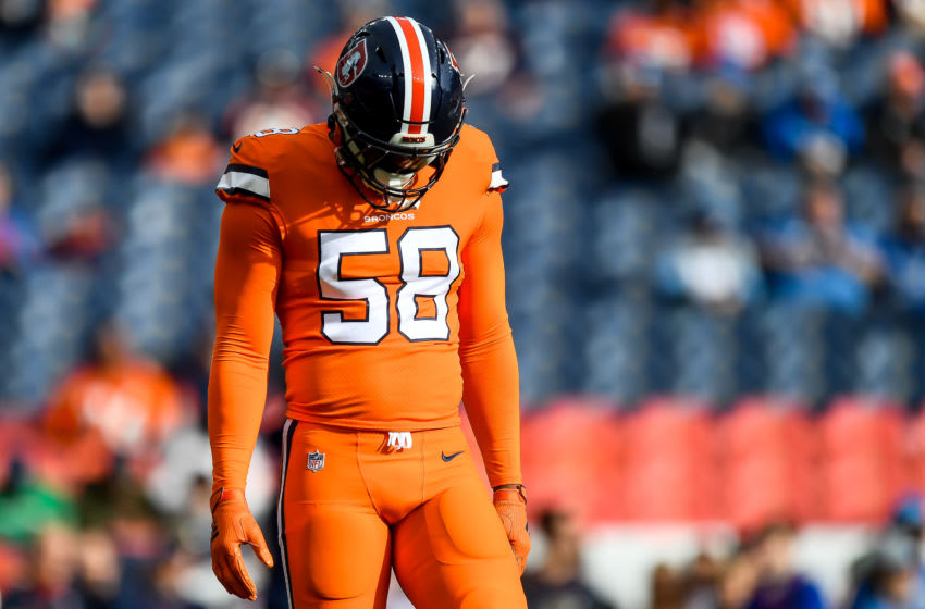 DENVER, CO - DECEMBER 22: Von Miller #58 of the Denver Broncos stands on the field as he warms up before a game against the Detroit Lions at Empower Field at Mile High on December 22, 2019 in Denver, Colorado. (Photo by Dustin Bradford/Getty Images)