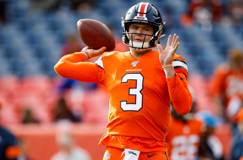 DENVER, CO - DECEMBER 22: Quarterback Drew Lock #3 of the Denver Broncos warms up before a game against the Detroit Lions at Empower Field at Mile High on December 22, 2019 in Denver, Colorado. (Photo by Justin Edmonds/Getty Images)