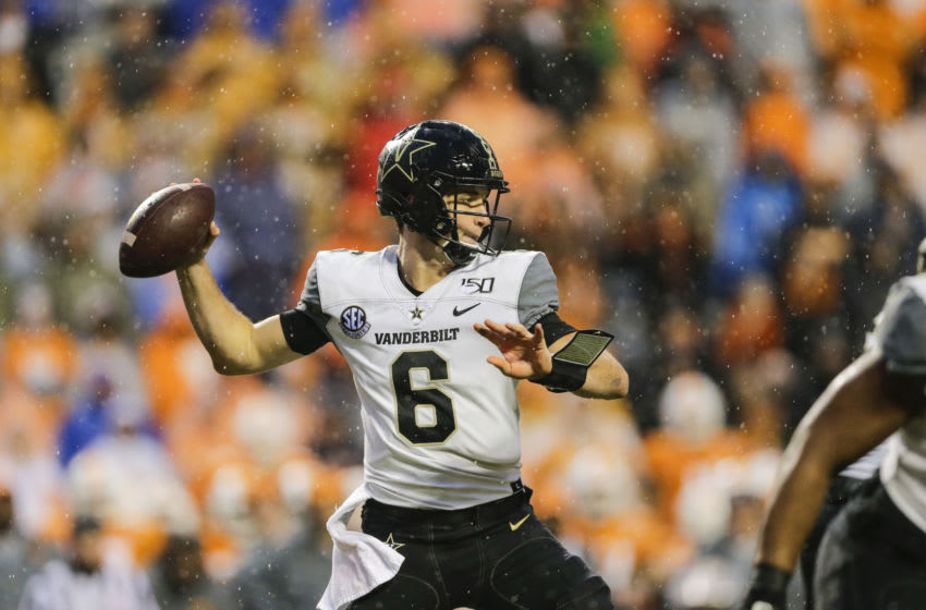 KNOXVILLE, TENNESSEE - NOVEMBER 30: Riley Neal #6 of the Vanderbilt Commodores passes the ball against the Tennessee Volunteers during the first quarter of the game at Neyland Stadium on November 30, 2019 in Knoxville, Tennessee. (Photo by Silas Walker/Getty Images)