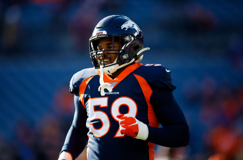 DENVER, CO - DECEMBER 01: Linebacker Malik Reed #59 of the Denver Broncos warms up before a game against the Los Angeles Chargers at Empower Field at Mile High on December 1, 2019 in Denver, Colorado. The Broncos defeated the Chargers 23-20. (Photo by Justin Edmonds/Getty Images)