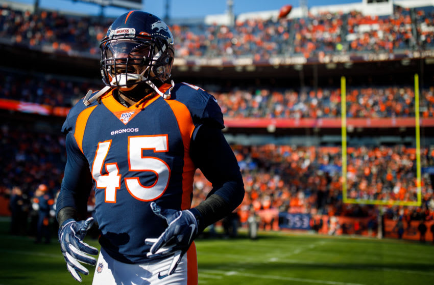 DENVER, CO - DECEMBER 01: Linebacker Alexander Johnson #45 of the Denver Broncos stands on the field before a game against the Los Angeles Chargers at Empower Field at Mile High on December 1, 2019 in Denver, Colorado. (Photo by Justin Edmonds/Getty Images)