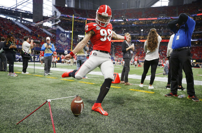 ATLANTA, GEORGIA - DECEMBER 07: Rodrigo Blankenship #98 of the Georgia Bulldogs warms up before the SEC Championship game against the LSU Tigers at Mercedes-Benz Stadium on December 07, 2019 in Atlanta, Georgia. (Photo by Todd Kirkland/Getty Images)