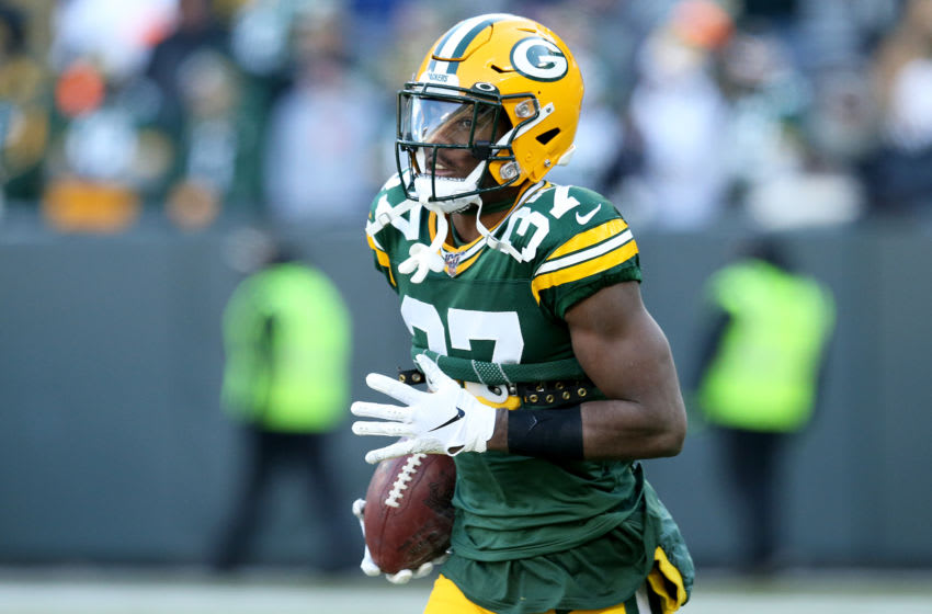 GREEN BAY, WISCONSIN - DECEMBER 15: Cornerback Josh Jackson #37 of the Green Bay Packers warms up against the Chicago Bears at Lambeau Field on December 15, 2019 in Green Bay, Wisconsin. (Photo by Dylan Buell/Getty Images)