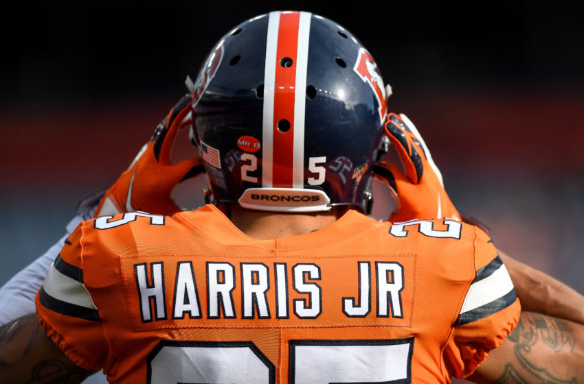 DENVER, CO - DECEMBER 22: Chris Harris #25 of the Denver Broncos stands on the field as he warms up before a game against the Detroit Lions at Empower Field at Mile High on December 22, 2019 in Denver, Colorado. (Photo by Dustin Bradford/Getty Images)