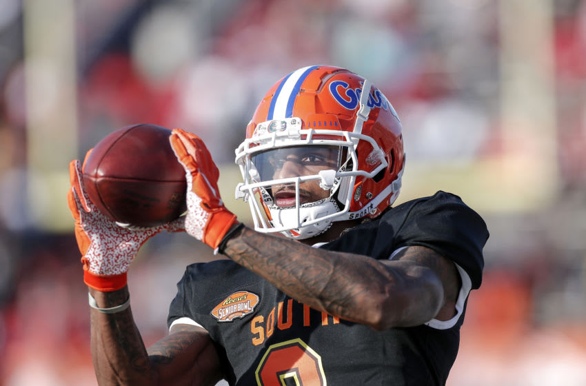 MOBILE, AL - JANUARY 25: Wide Receiver Tyrie Cleveland #9 from Florida of the South Team during the 2020 Resse's Senior Bowl at Ladd-Peebles Stadium on January 25, 2020 in Mobile, Alabama. The North Team defeated the South Team 34 to 17. (Photo by Don Juan Moore/Getty Images)