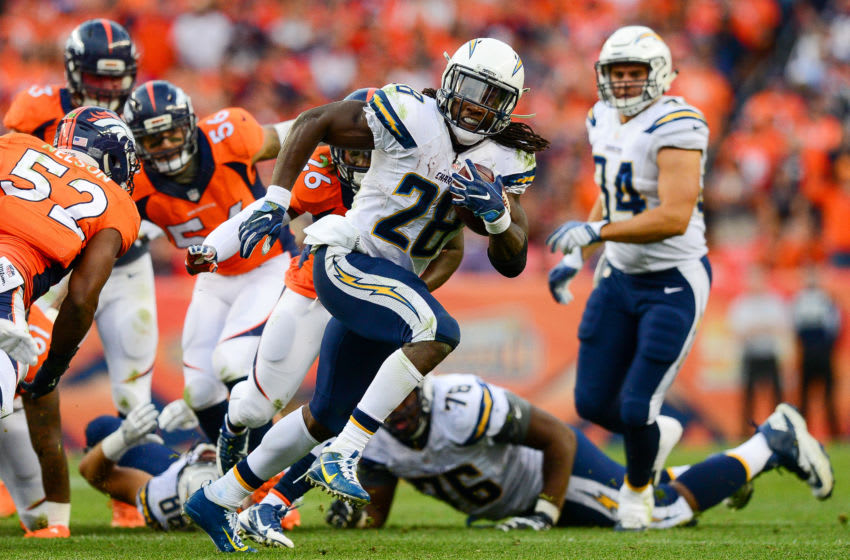 DENVER, CO - OCTOBER 30: Running back Melvin Gordon #28 of the San Diego Chargers carries the ball for 17 yards in the fourth quarter of the game against the Denver Broncos at Sports Authority Field at Mile High on October 30, 2016 in Denver, Colorado. (Photo by Dustin Bradford/Getty Images)