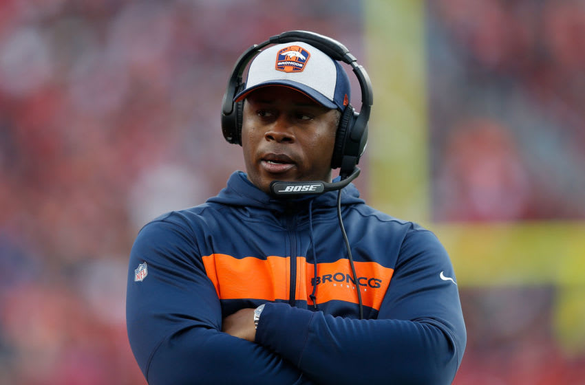 SANTA CLARA, CA - DECEMBER 09: Head coach Vance Joseph of the Denver Broncos looks on from the sideline during the game against the San Francisco 49ers at Levi's Stadium on December 9, 2018 in Santa Clara, California. (Photo by Lachlan Cunningham/Getty Images)