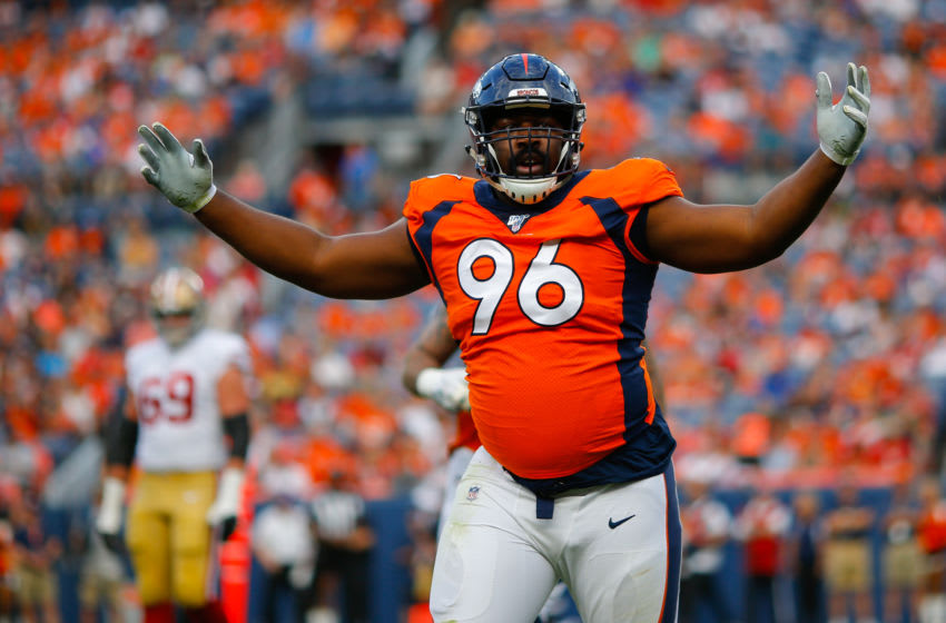 DENVER, CO - AUGUST 19: Defensive tackle Shelby Harris #96 of the Denver Broncos celebrates after making a tackle for a loss during the first quarter of a preseason game against the San Francisco 49ers at Broncos Stadium at Mile High on August 19, 2019 in Denver, Colorado. (Photo by Justin Edmonds/Getty Images)