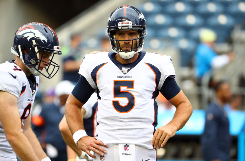SEATTLE, WASHINGTON - AUGUST 08: Joe Flacco #5 of the Denver Broncos looks on prior to taking on the Seattle Seahawks during their preseason game at CenturyLink Field on August 08, 2019 in Seattle, Washington. (Photo by Abbie Parr/Getty Images)