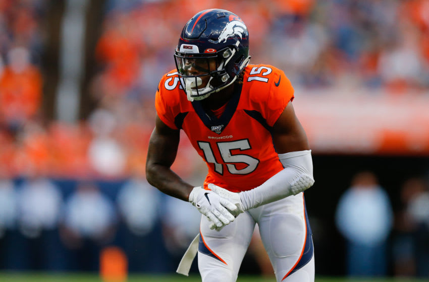 DENVER, CO - AUGUST 19: Wide receiver Juwann Winfree #15 of the Denver Broncos in action against the San Francisco 49ers during a preseason game at Broncos Stadium at Mile High on August 19, 2019 in Denver, Colorado. (Photo by Justin Edmonds/Getty Images)