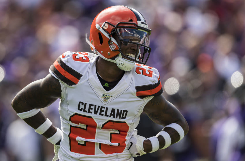 BALTIMORE, MD - SEPTEMBER 29: Damarious Randall #23 of the Cleveland Browns celebrates after sacking Lamar Jackson #8 of the Baltimore Ravens (not pictured) during the first half at M&T Bank Stadium on September 29, 2019 in Baltimore, Maryland. (Photo by Scott Taetsch/Getty Images)