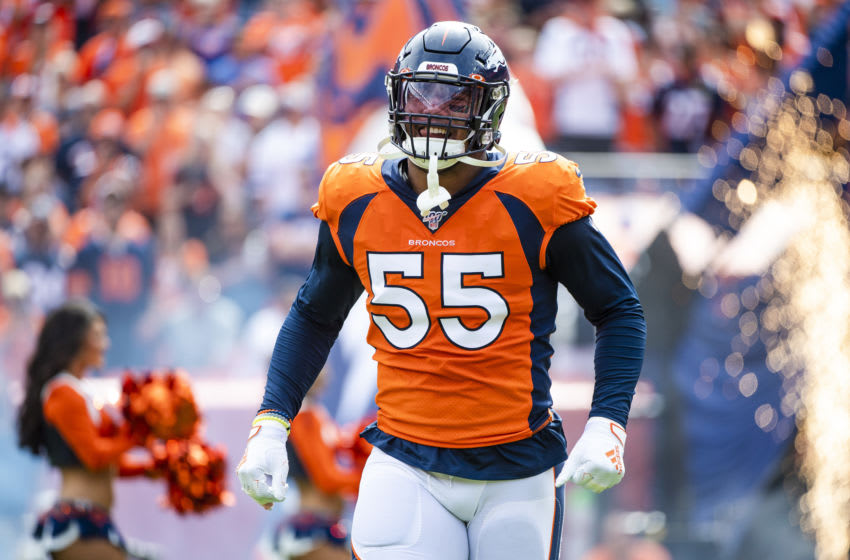 DENVER, CO - SEPTEMBER 15: Bradley Chubb #55 of the Denver Broncos is introduced prior to taking on the Chicago Bears at Empower Field at Mile High on September 15, 2019 in Denver, Colorado. (Photo by Timothy Nwachukwu/Getty Images)