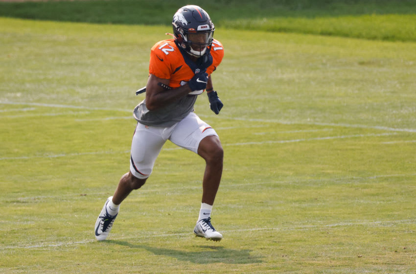 ENGLEWOOD, CO - AUGUST 21: Wide receiver Trinity Benson #12 of the Denver Broncos runs a route during a training session at UCHealth Training Center on August 21, 2020 in Englewood, Colorado. (Photo by Justin Edmonds/Getty Images)