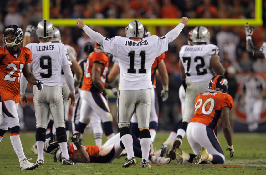 DENVER, CO - SEPTEMBER 12: Place kicker Sebastian Janikowski #11 of the Oakland Raiders celebrates his 63 yard field goal with five seconds remaining in the first half to give the Raiders a 16-3 lead over the Denver Broncos at Sports Authority Field at Mile High on September 12, 2011 in Denver, Colorado. Janikowski's kick of 63 yards tied the NFL field goal record. (Photo by Doug Pensinger/Getty Images)