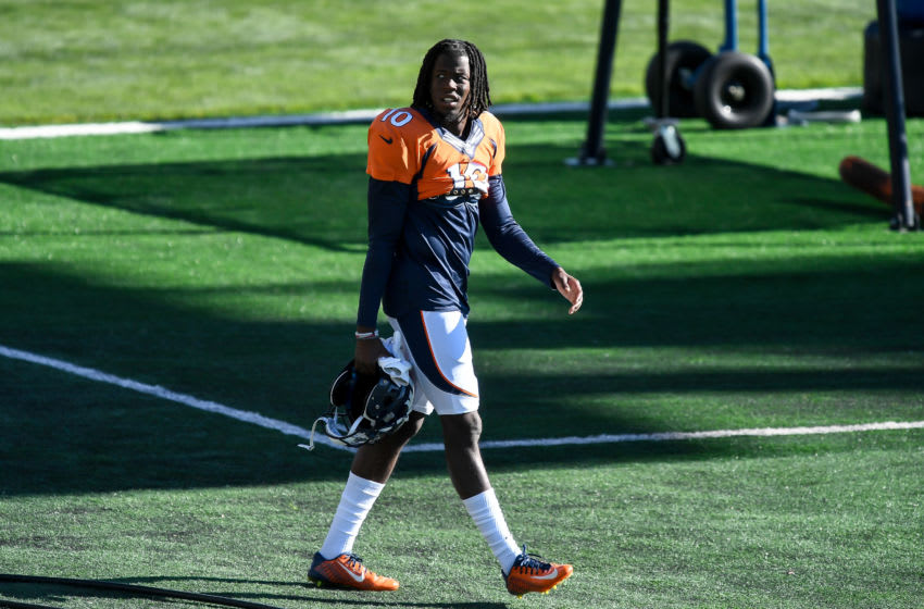 ENGLEWOOD, CO - SEPTEMBER 2: Wide receiver Jerry Jeudy #10 of the Denver Broncos walks onto the field during a training session at UCHealth Training Center on September 2, 2020 in Englewood, Colorado. (Photo by Dustin Bradford/Getty Images)