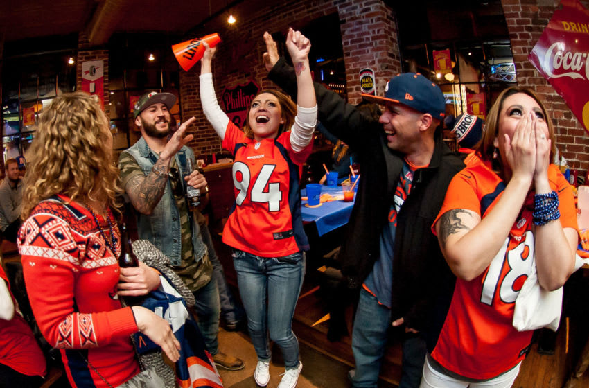 DENVER, CO - FEBRUARY 7: Denver Broncos fans watch Super Bowl 50 at It's Brothers, a bar in Lower Downtown on February 7, 2016 in Denver, Colorado. (Photo by Dustin Bradford/Getty Images)