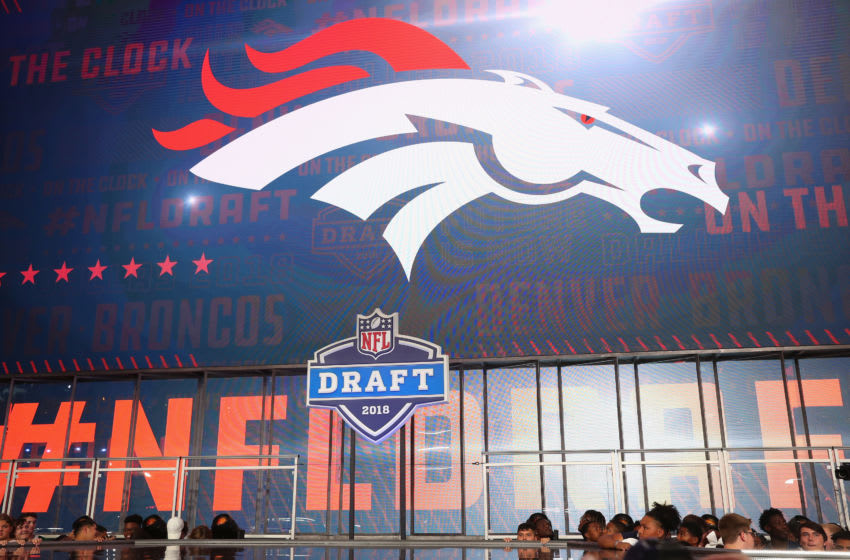 ARLINGTON, TX - APRIL 26: The Denver Broncos logo is seen on a video board during the first round of the 2018 NFL Draft at AT&T Stadium on April 26, 2018 in Arlington, Texas. (Photo by Tom Pennington/Getty Images)