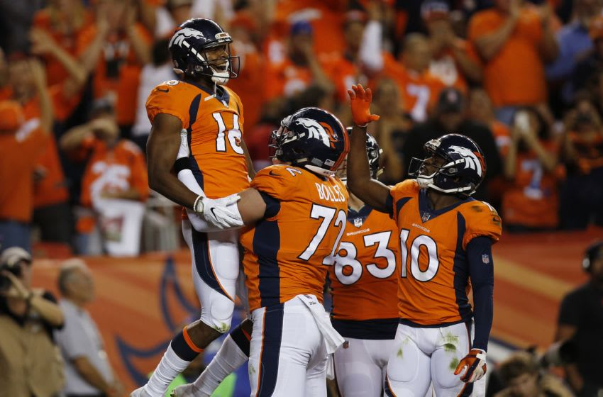 DENVER, CO - SEPTEMBER 11: Bennie Fowler #16 celebrates a touchdown catch with offensive tackle Garett Bolles #72 of the Denver Broncos in the first quarter of the game abasing the Los Angeles Chargers at Sports Authority Field at Mile High on September 11, 2017 in Denver, Colorado. (Photo by Justin Edmonds/Getty Images)