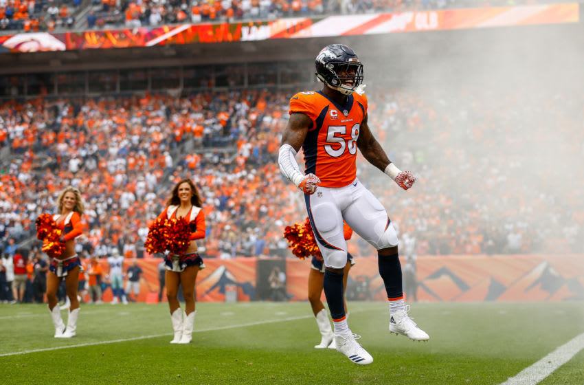 DENVER, CO - SEPTEMBER 17: Outside linebacker Von Miller #58 of the Denver Broncos runs onto the field during player introductions before a game against the Dallas Cowboys at Sports Authority Field at Mile High on September 17, 2017 in Denver, Colorado. (Photo by Justin Edmonds/Getty Images)