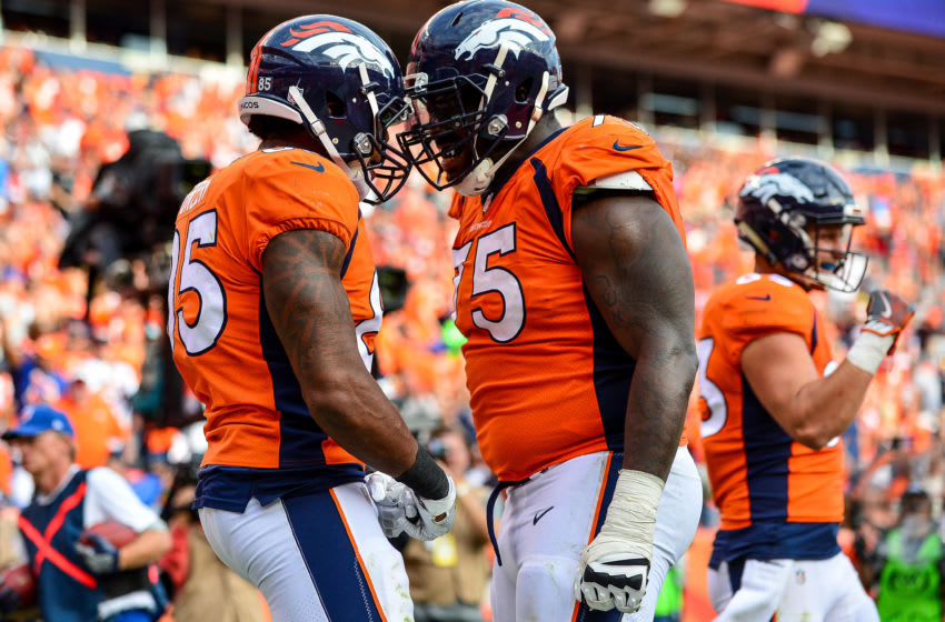 DENVER, CO - SEPTEMBER 17: Tight end Virgil Green #85 of the Denver Broncos celebrates with Menelik Watson #75 after a third quarter touchdown against the Dallas Cowboys at Sports Authority Field at Mile High on September 17, 2017 in Denver, Colorado. (Photo by Dustin Bradford/Getty Images)