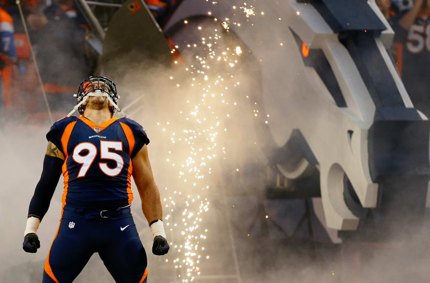 DENVER, CO - OCTOBER 15: Defensive end Derek Wolfe #95 of the Denver Broncos is introduced to the crowd before a game against the New York Giants at Sports Authority Field at Mile High on October 15, 2017 in Denver, Colorado. (Photo by Justin Edmonds/Getty Images)