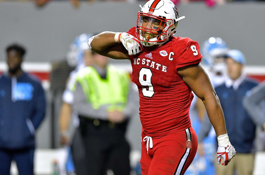 RALEIGH, NC - NOVEMBER 25: Bradley Chubb #9 of the North Carolina State Wolfpack reacts after a win against the North Carolina Tar Heels during their game at Carter Finley Stadium on November 25, 2017 in Raleigh, North Carolina. North Carolina State won 33-21. (Photo by Grant Halverson/Getty Images)