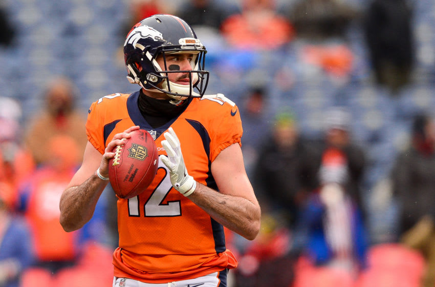 DENVER, CO - DECEMBER 31: Quarterback Paxton Lynch #12 of the Denver Broncos throws as he warms up before a game against the Kansas City Chiefs at Sports Authority Field at Mile High on December 31, 2017 in Denver, Colorado. (Photo by Dustin Bradford/Getty Images)